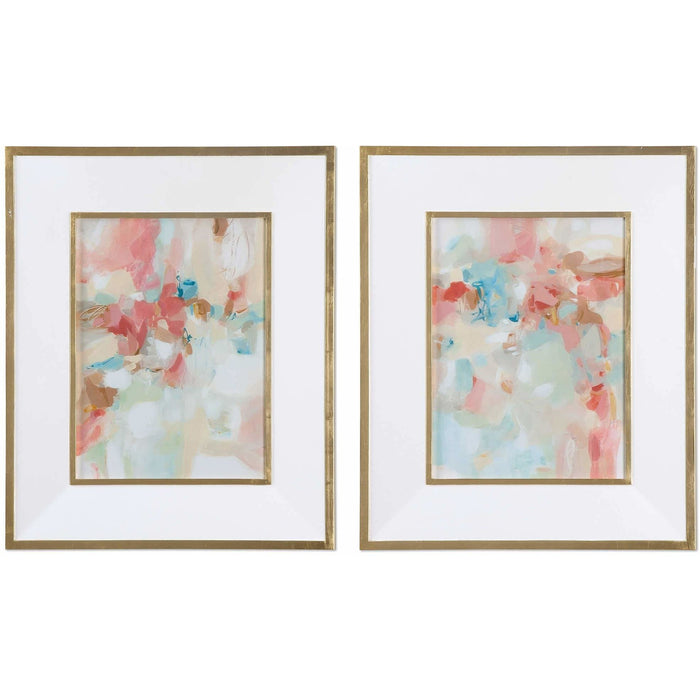 Uttermost 41557 A Touch Of Blush and Rosewood Fences Framed Art Prints Set of 2