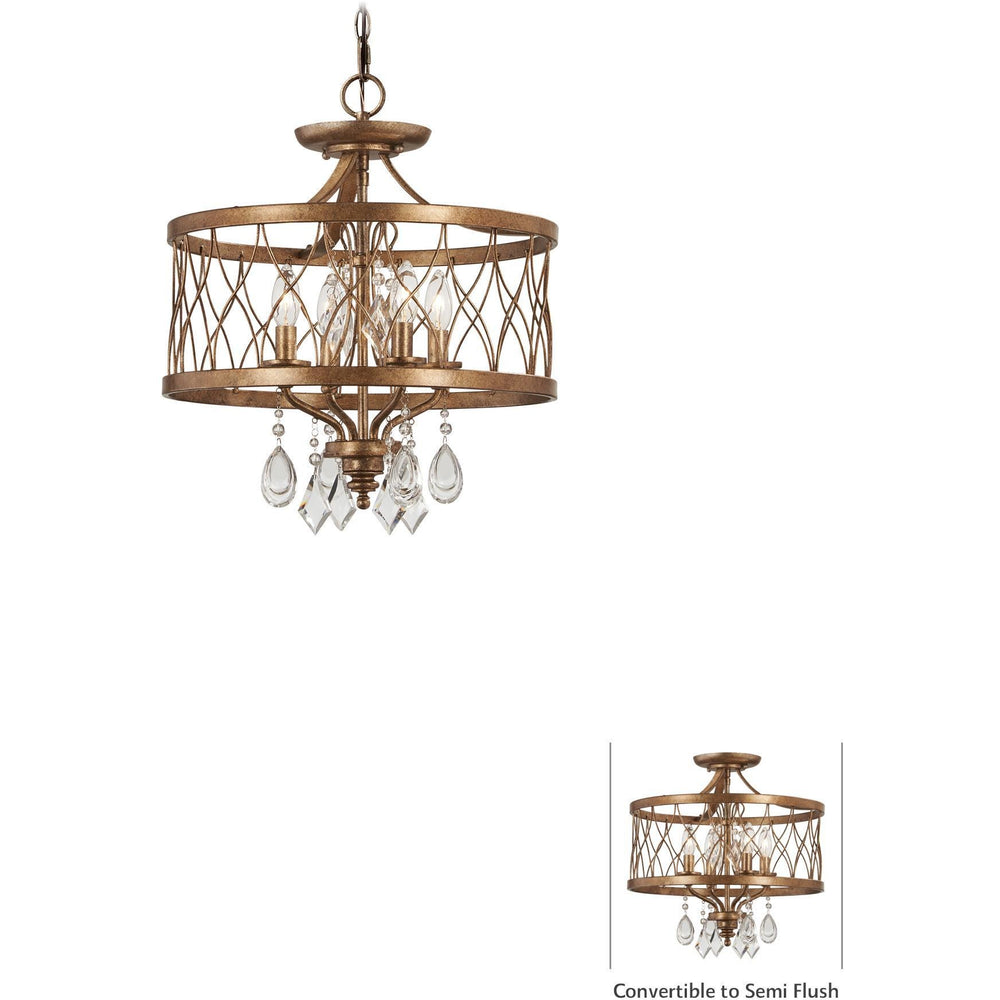 Minka Lavery 4403-581 West Liberty 4 Light Semi Flush Mount with Crystals