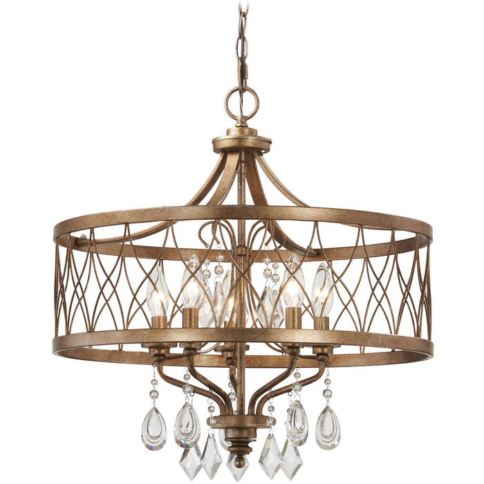 Minka Lavery 4404-581 West Liberty 5 Light Drum Chandelier with Crystals