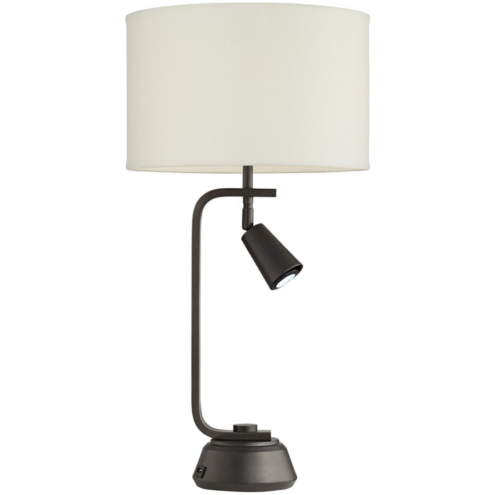 Pacific Coast Lighting Othello Table Lamp with Spotlight and USB Port | Contemporary 150W Table Lamp in Gun Metal Finish with Off-White Shade (Table Lamp 15 in W x 29.5 in H)