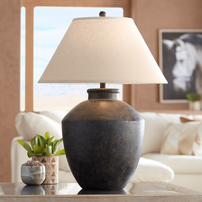 Pacific Coast Lighting Massa Table Lamp | 1-Light 150W Black Terracotta Jar Table Lamp