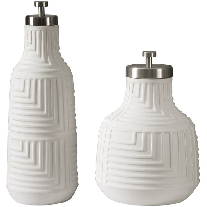 Uttermost 18929 Chandran Matte White Containers Set of 2