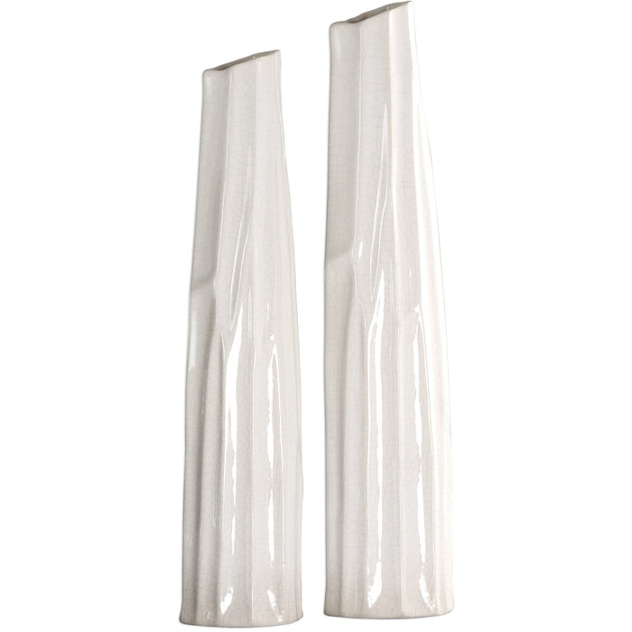 Uttermost 18868 Kenley Crackled White Vases Set of 2