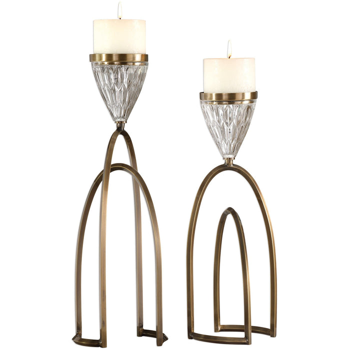 Uttermost 18920 Carma Bronze And Crystal Candleholders Set of 2