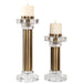 Uttermost 18645 Leslie Brushed Brass Candleholders Set of 2