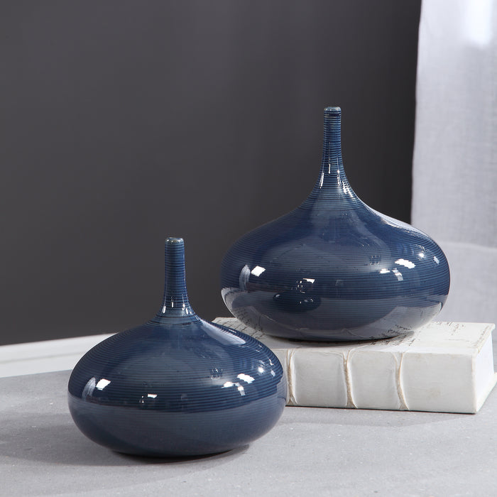 Uttermost 18988 Zayan Blue Vases, Set of 2