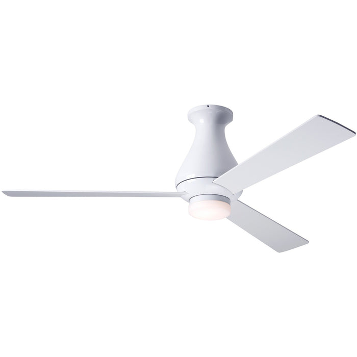 "Modern Fan Altus Gloss White 52"" Flush Mount Ceiling Fan with White Blades and Remote Control - ALCOVE LIGHTING"
