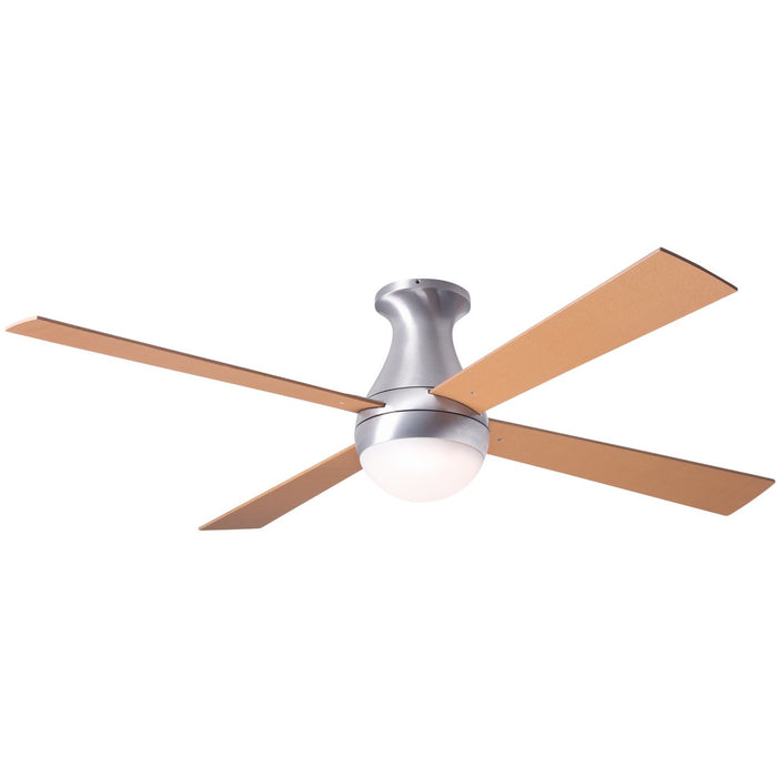 "Modern Fan Ball Brushed Aluminum 52"" Flush Mount Ceiling Fan with Maple Blades and Remote Control - ALCOVE LIGHTING"