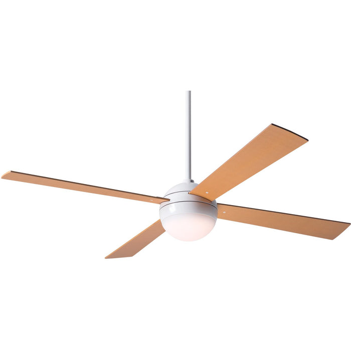 "Modern Fan Ball Gloss White 42"" Ceiling Fan with Maple Blades and Remote Control - ALCOVE LIGHTING"