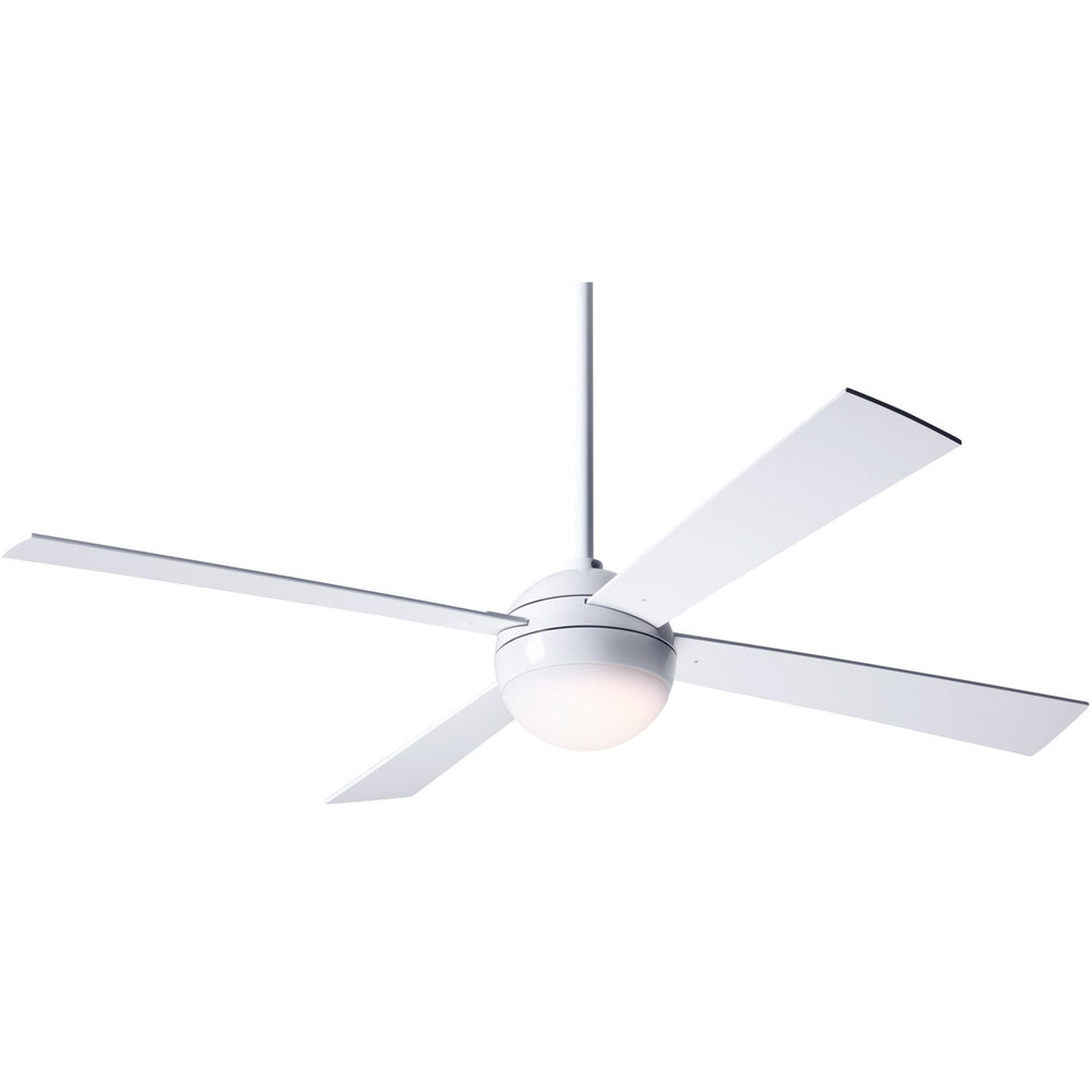 "Modern Fan Ball Gloss White 42"" Ceiling Fan with White Blades and Remote Control - ALCOVE LIGHTING"
