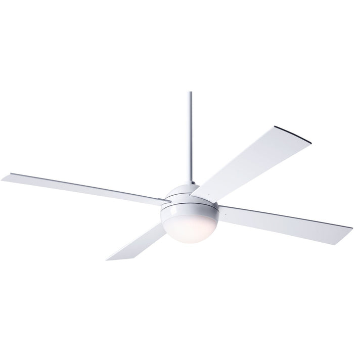 "Modern Fan Ball Gloss White 52"" Ceiling Fan with White Blades and Remote Control - ALCOVE LIGHTING"