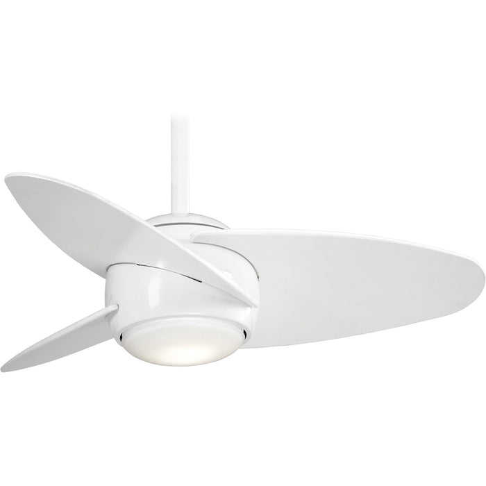 "Minka Aire F410L-WH Slant White 36"" LED Ceiling Fan with Remote Control"