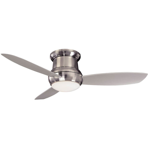 "Minka Aire F474L-BNW Concept II Brushed Nickel Wet 52"" Outdoor Flush Mount Ceiling Fan with Wall Control - ALCOVE LIGHTING"