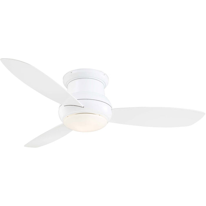 "Minka Aire F474L-WH Concept II Wet White 52"" Outdoor Flush Mount Ceiling Fan with Wall Control - ALCOVE LIGHTING"