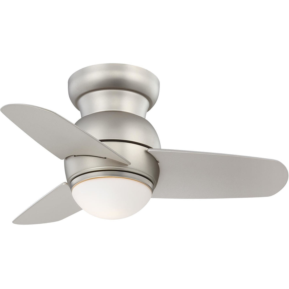 "Minka Aire F510L-BS Spacesaver Brushed Steel 26"" Flush Mount Ceiling Fan with Wall Control - ALCOVE LIGHTING"
