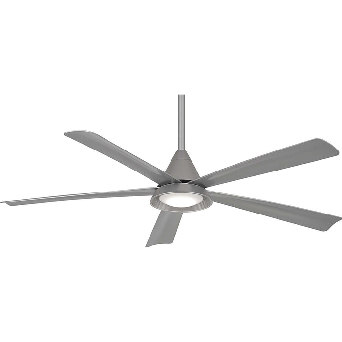 "Minka Aire F541L-SL Cone Silver 54"" Outdoor Ceiling Fan with Remote Control"