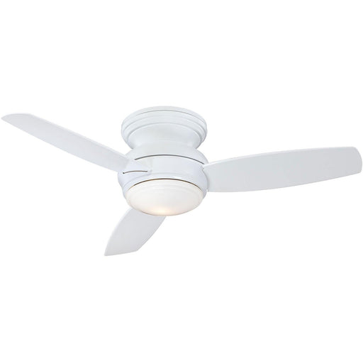 "Minka Aire F593L-WH Traditional Concept White 44"" Flush Mount Ceiling Fan with Wall Control - ALCOVE LIGHTING"