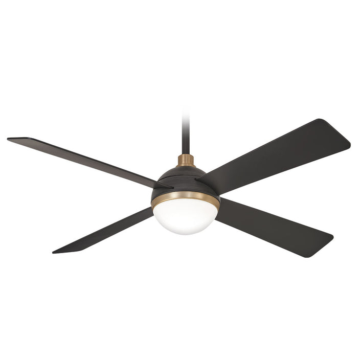 "Minka Aire Orb 54"" 4-Blade LED Ceiling Fan in Brushed Carbon with Soft Brass Finish and Remote Control"