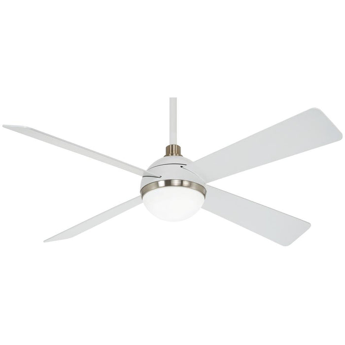 "Minka Aire F623L-WHF/BN Orb Flat White 54"" LED Ceiling Fan with Remote Control"