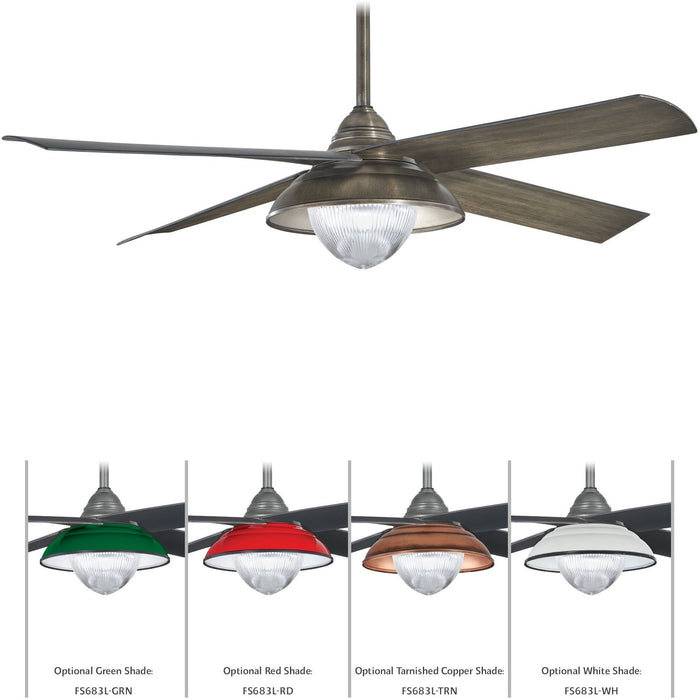 "Minka Aire F683L-HBZ Shade Heirloom Bronze 56"" Outdoor LED Ceiling Fan with Remote Control"