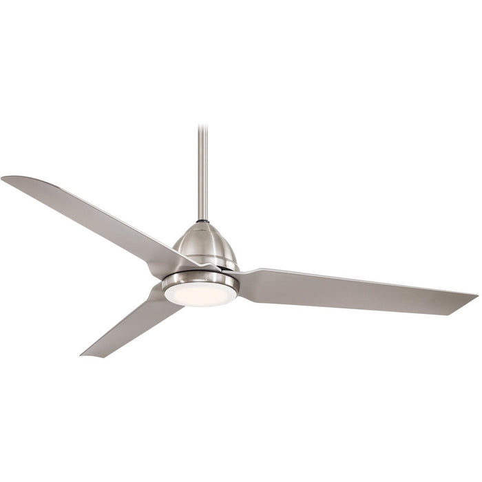 "Minka Aire F753L-BNW Java LED Brushed Nickel Wet 54"" Outdoor Ceiling Fan with Remote Control - ALCOVE LIGHTING"