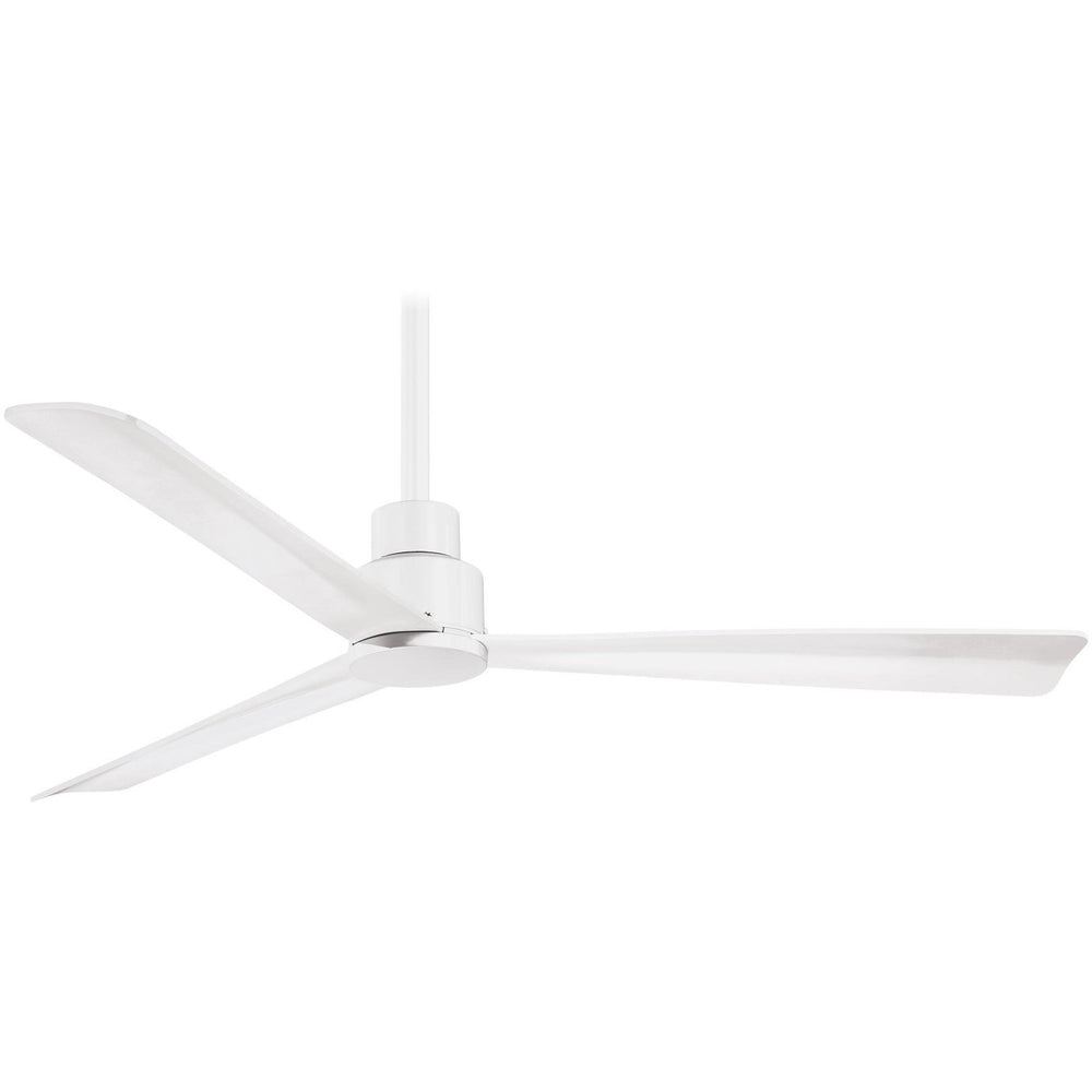 "Minka Aire F787-WHF Simple Flat White 52"" Outdoor Ceiling Fan with Remote Control - ALCOVE LIGHTING"