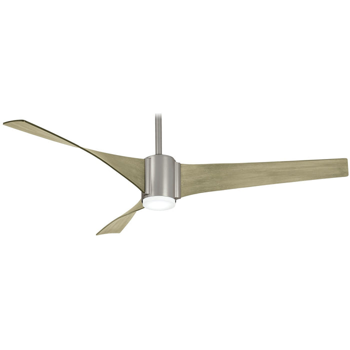 "Minka Aire F832L-BS Triple Brushed Steel 60"" Ceiling Fan with Remote Control"