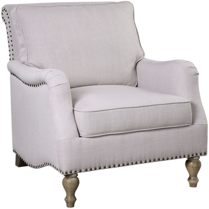 Uttermost 23291 Armstead Antique White Armchair