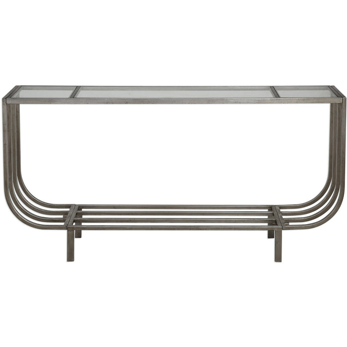 Uttermost 24764 Arlice Bright Silver Console Table