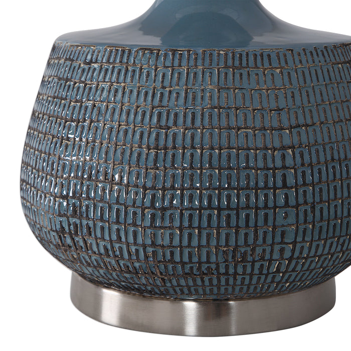 Uttermost 27925-1 Hearst Blue Glaze Table Lamp