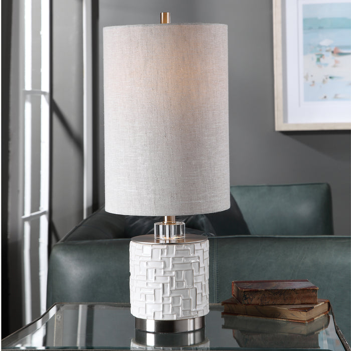 Uttermost 29731-1 Elyn Glossy White Accent Lamp