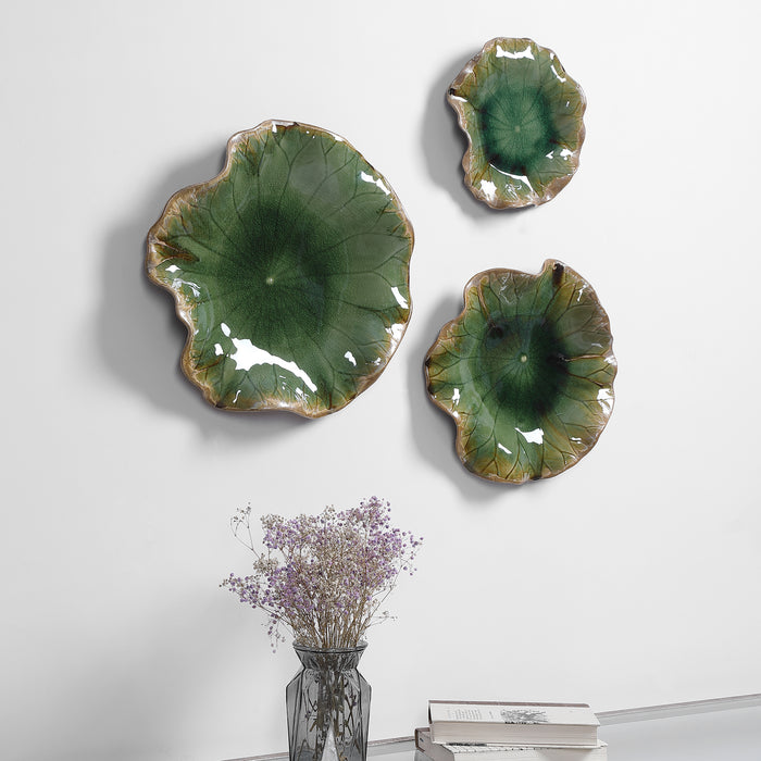 Uttermost 04247 Abella Green Ceramic Wall Decor, Set of 3