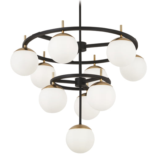 George Kovacs P1358-618 Alluria Weathered Black w/ Autumn Gold Chandelier