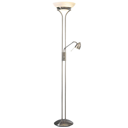 George Kovacs P256-084 George's Reading Room Brushed Nickel Torchiere Floor Lamp w/ Reading Light