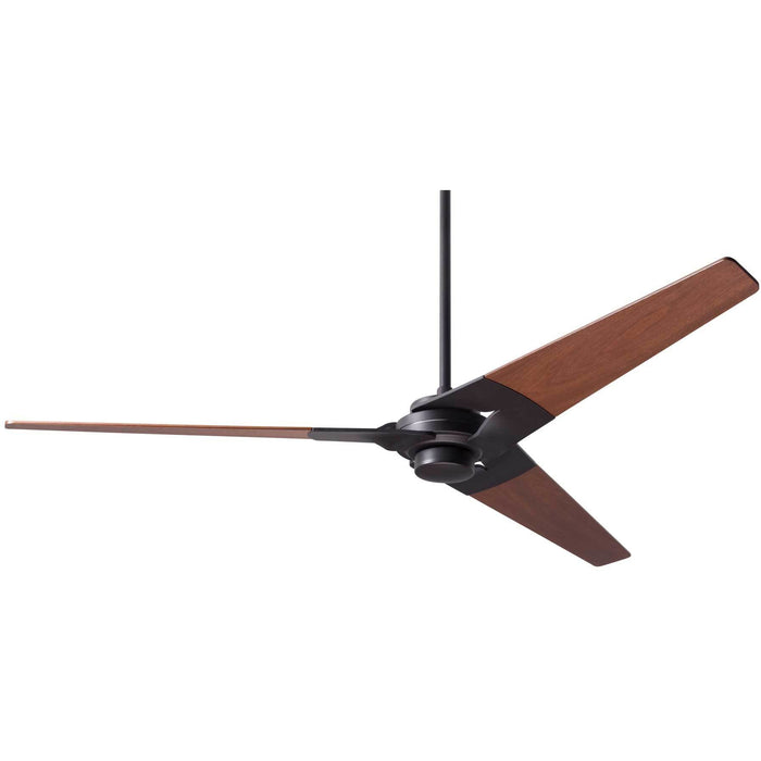 "Modern Fan Company Torsion Dark Bronze 62"" Ceiling Fan with Mahogany Blades"