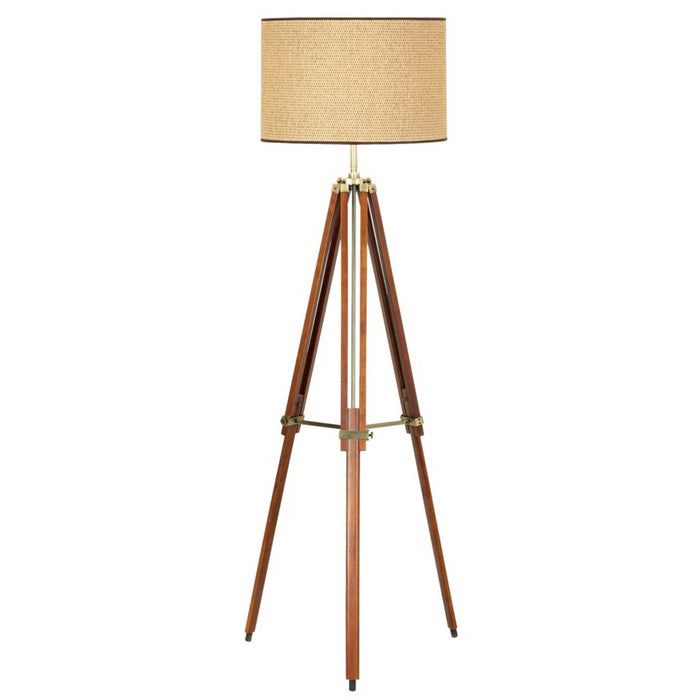 Pacific Coast Lighting Tripod Floor Lamp in Walnut Finish with Drum Shade