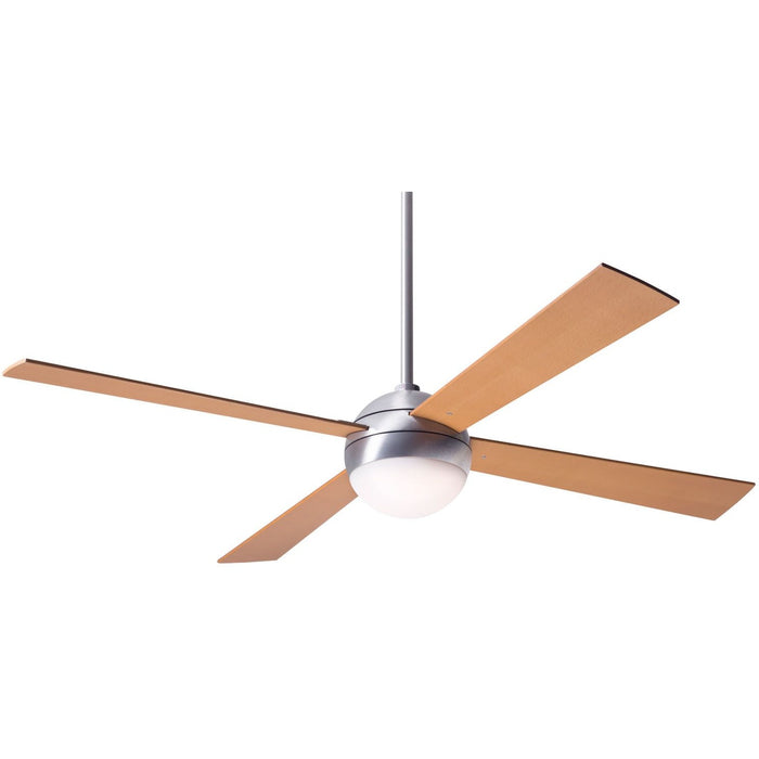 "Modern Fan Ball Brushed Aluminum 52"" Ceiling Fan with Maple Blades and Remote Control - ALCOVE LIGHTING"