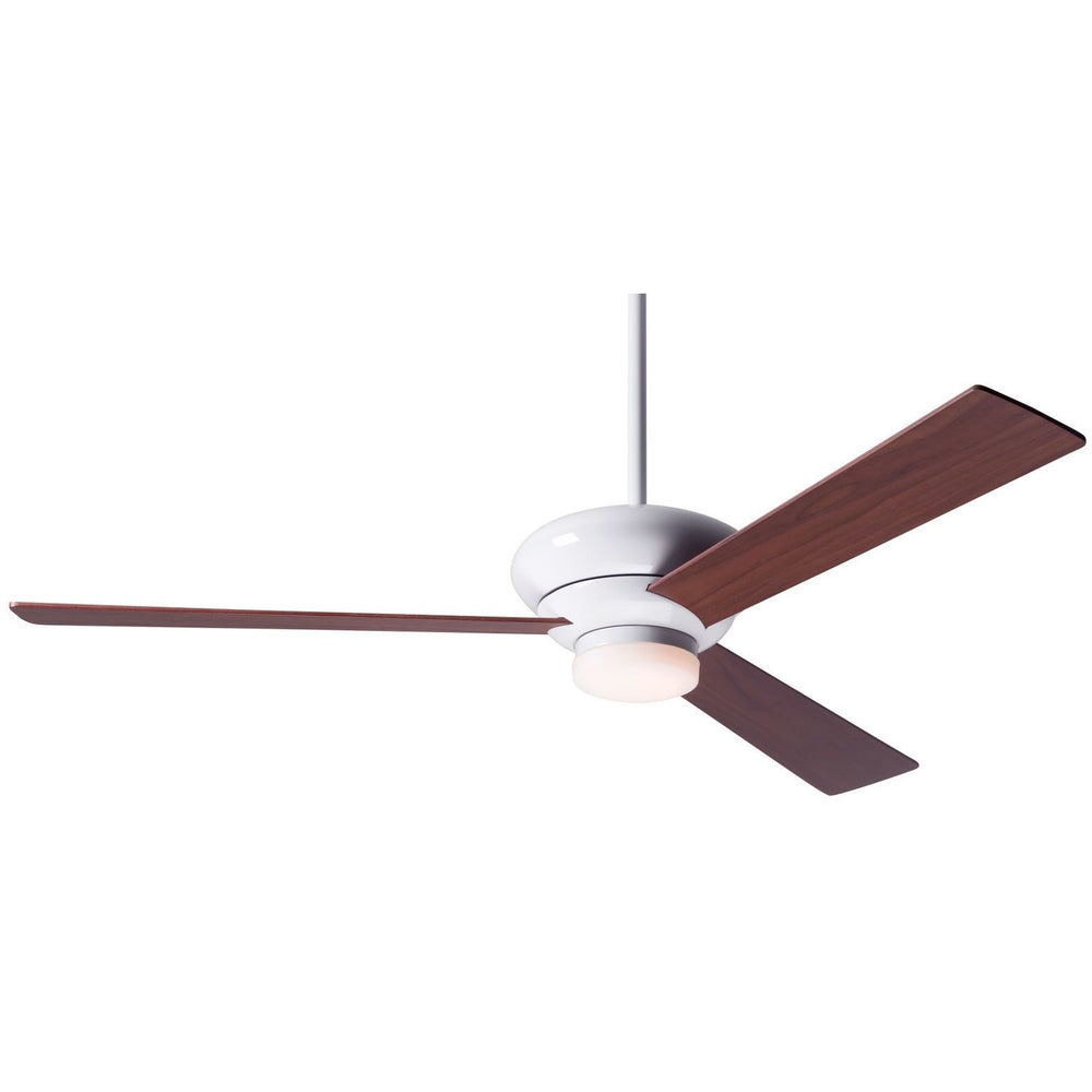 "Modern Fan Altus Gloss White 42"" Ceiling Fan with Mahogany Blades and Remote Control - ALCOVE LIGHTING"