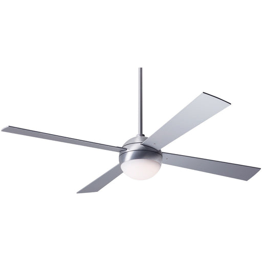 "Modern Fan Ball Brushed Aluminum 52"" Ceiling Fan with Aluminum Blades and Remote Control - ALCOVE LIGHTING"