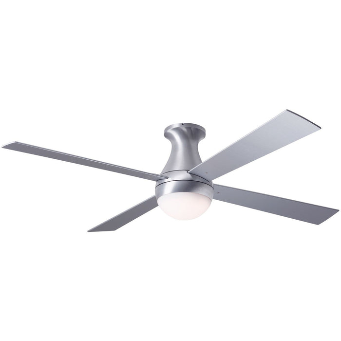"Modern Fan Ball Brushed Aluminum 52"" Flush Mount Ceiling Fan with Aluminum Blades and Remote Control - ALCOVE LIGHTING"