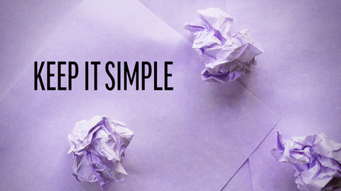 3 crumpled sheets on 2 flat sheets reminding us to keep habit tracking simple