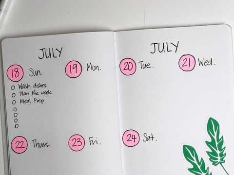 Photo of an open Add Pink and Stir notebook with a bullet journal weekly spread for the week of July 18.