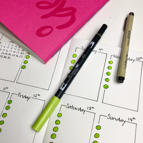 Layout of a bullet journal spread