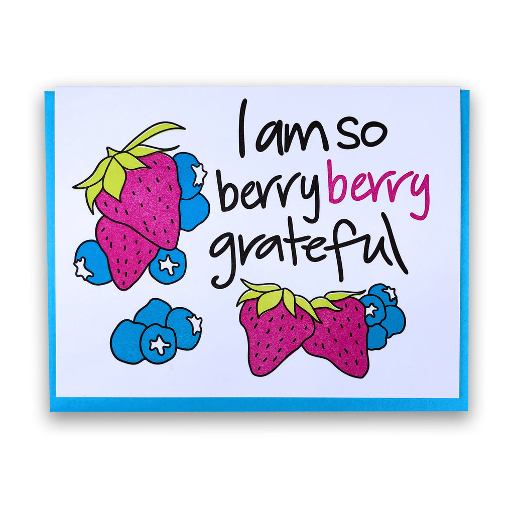 Berry Berry Grateful | Letterpress Funny Thank you Card