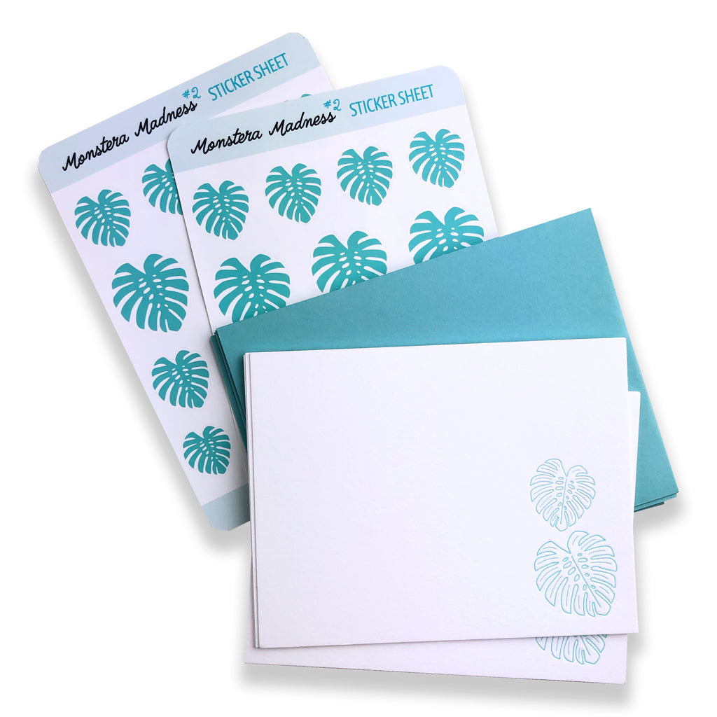 Monstera Writing Set | Notecards and Stickers