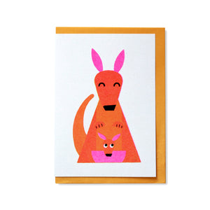 Kangaroo and Joey Greetings Card