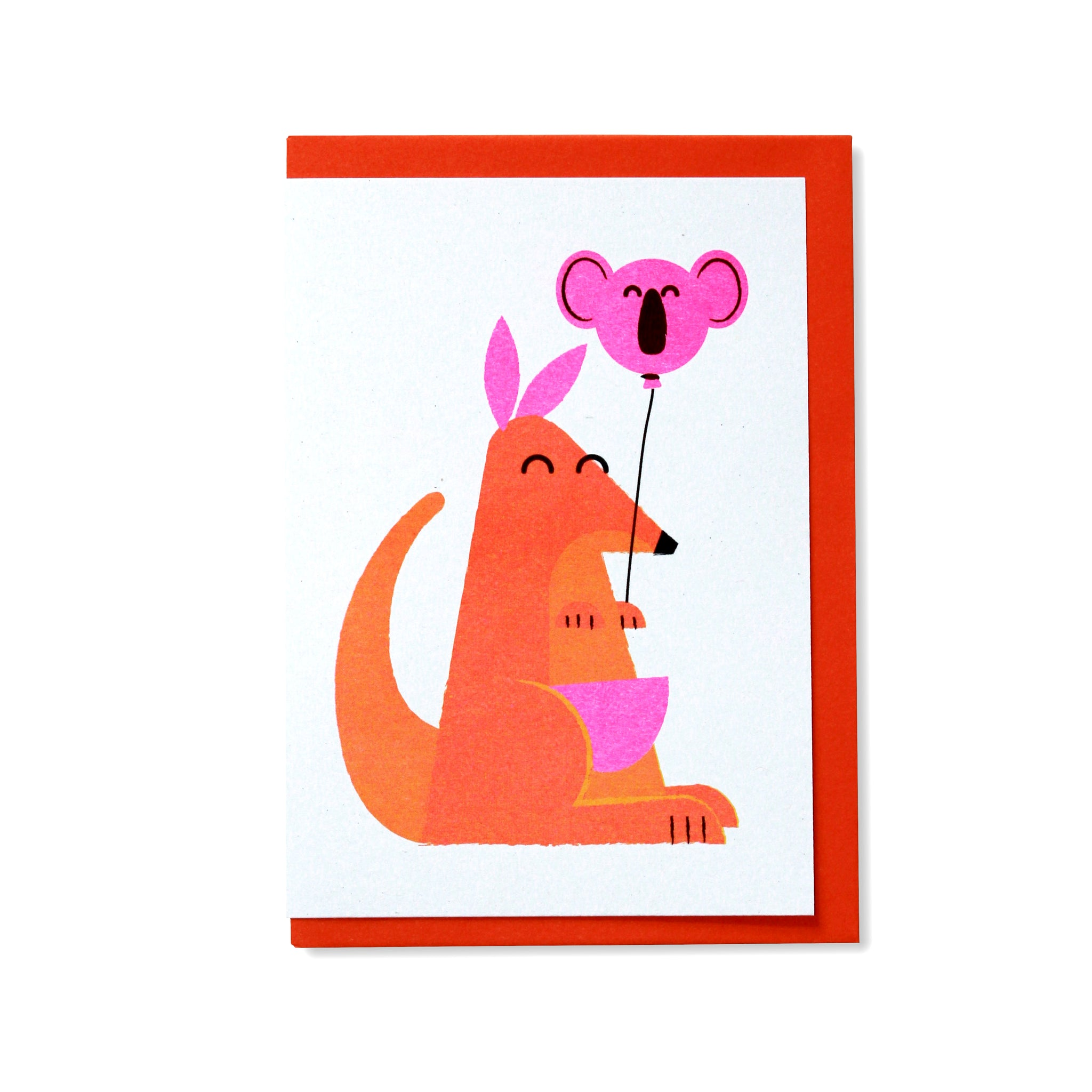 Kangaroo and Balloon Greetings Card