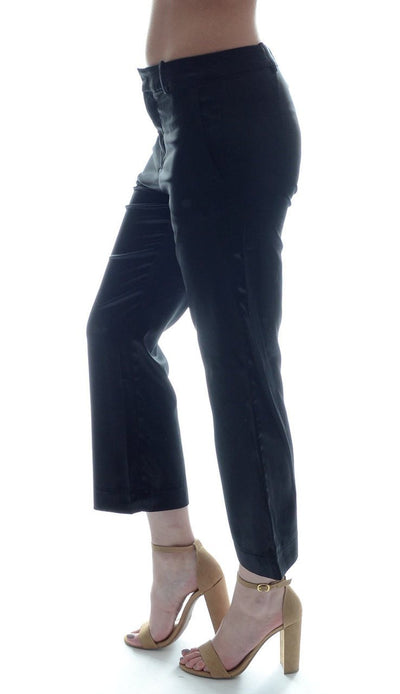 Ana Cropped Silk Pant - Navy