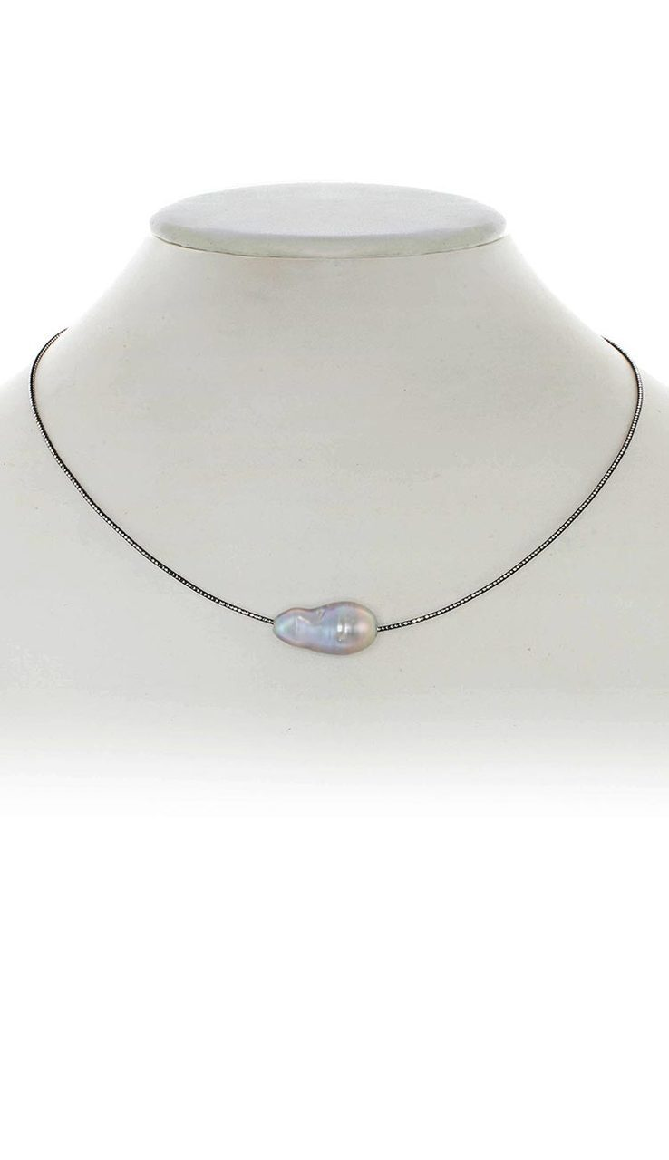 Baroque Pearl Choker Necklace - Grey