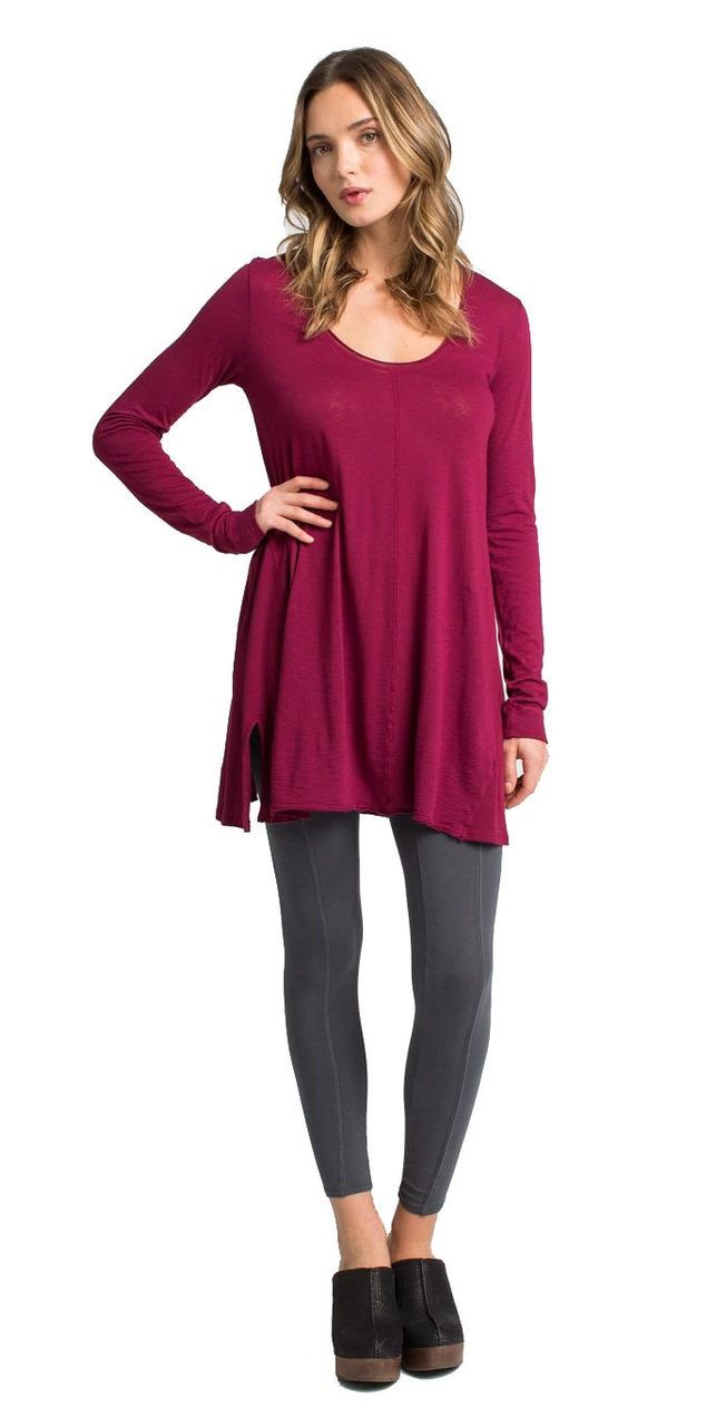 Lily Scoop Neck Tunic - Ox Blood